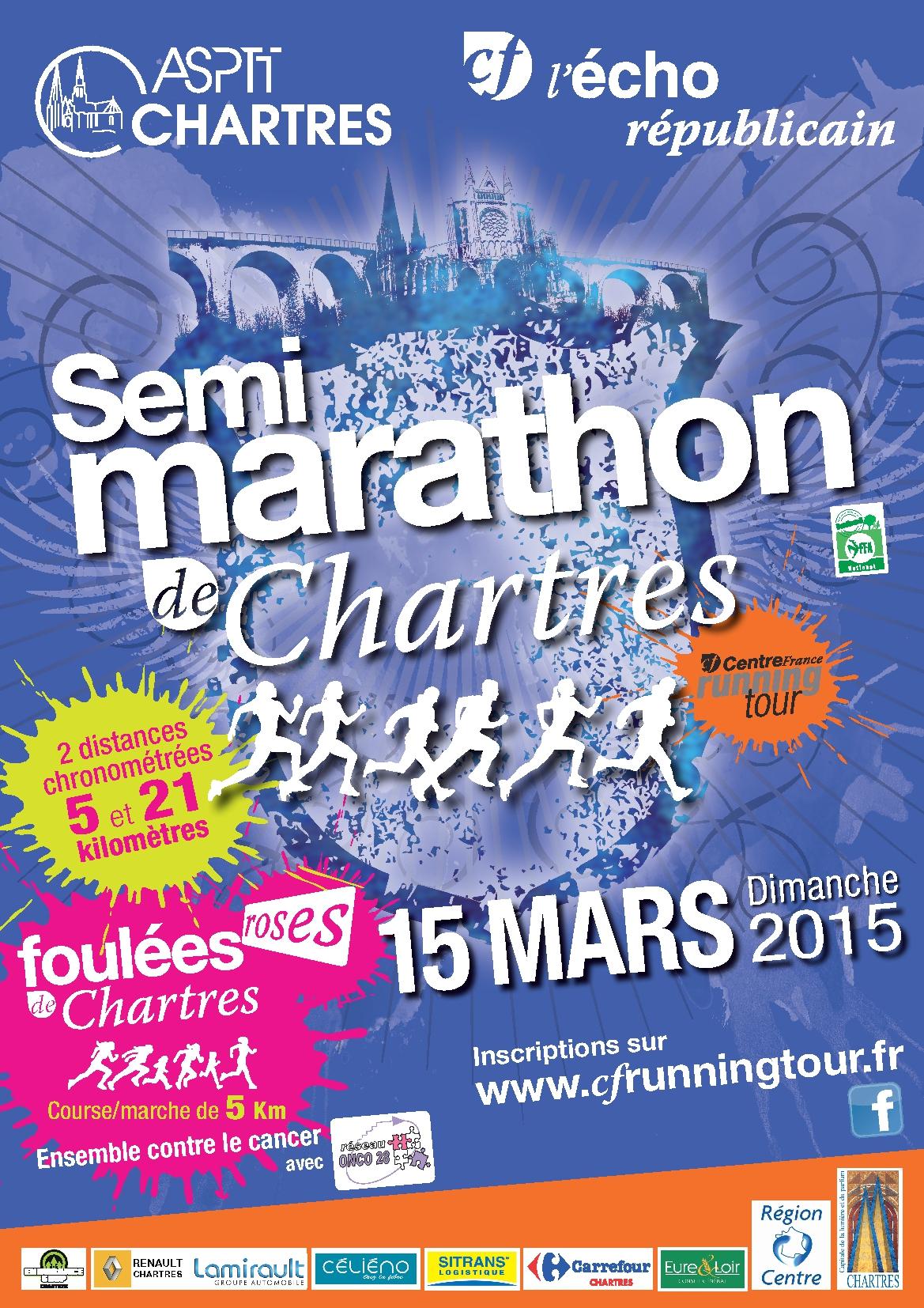 Affiche Foulees Roses de Chartres Onco 28-001